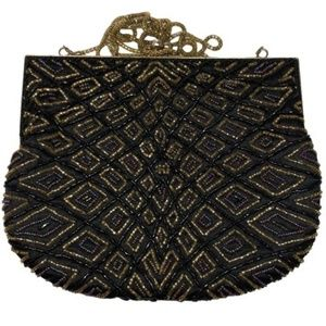 La Regale Beaded Evening Purse Black Gold